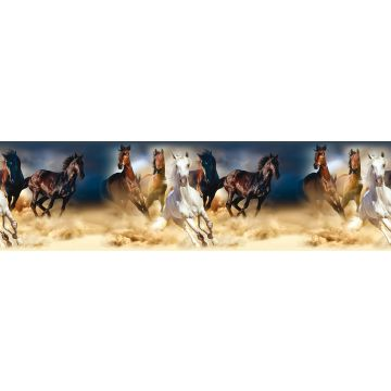 cenefa autoadhesiva caballos azul oscuro, marrón y beige de Sanders & Sanders